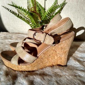 UGG Suede Leather Cork Wedge Sandals Buckle Strap